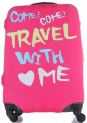 Pokrowiec na Walizkę firmy Snowball w rozmiarze M Travel with me Róż