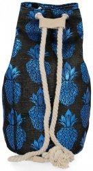 Modny Plecak Damski Pojemny Worek XL w modny wzór Ananasów Czarno Niebieski