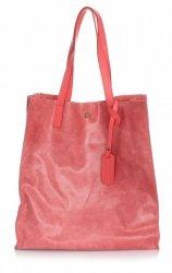 Torba Skórzana Shopper Bag z Kosmetyczką Malina