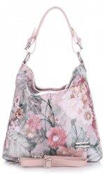 VITTORIA GOTTI Made in Italy Modna Torebka Skórzana w Kwiaty Multikolorowa Różowa