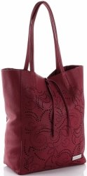 Vittoria Gotti Włoski Skórzany ShoppeBag z Kosmetyczką w modne wycinane wzory Bordowy