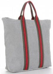 Vittoria Gotti Torebki Skórzane w modne paski Firmowy Shopper Made in Italy z funkcją Plecaczka Jasno Szara