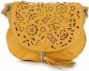 Torebki Skórzane Listonoszki Vittoria Gotti wycinane wzory Żółta