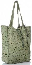 Vittoria Gotti Premium Torebka Skórzana Ażurowy ShopperBag w stylu Vintage Zielona