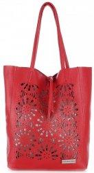 Modne Torebki Skórzane z Wycinanym Wzorem firmy Vittoria Gotti Czerwona