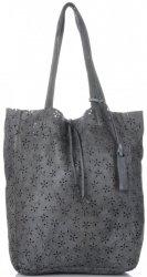 Vittoria Gotti Premium Torebka Skórzana Ażurowy ShopperBag w stylu Vintage Szara