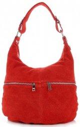 Uniwersalna Torebka Skórzana Genuine Leather Czerwona