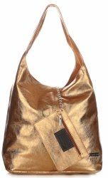 Modny Shopper XL z Lakierowanej Skóry Naturalnej Stare Złoto