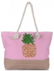Modna Plażowa Torba Damska Ananas Pudrowy Róż
