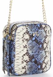 Vittoria Gotti Ekskluzywna Włoska Listonoszka Skórzana w modny motyw kolorowego węża Niebieska