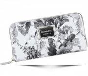 Modny Portfel Damski Diana&Co Firenze wzór Kwiatów Szary