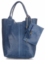 Włoskie Torebki skórzane typu Shopper bag Aligator Niebieska