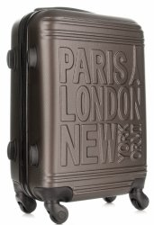 Modna Walizka Kabinówka Or&Mi Paris/London/NewYork 4 kółka Stare Złoto