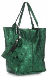 Uniwersalna Torebka Skórzana ShopperBag firmy Genuine Leather w Motyle Zielona