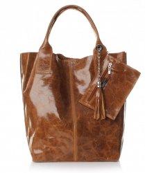 Kožená kabelka Shopper bag Lak zrzavá