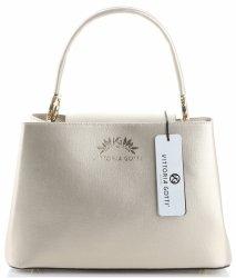 Vittoria Gotti Made in Italy Elegantní Dámská kabelka kožená kufřík zlatá