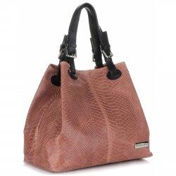 Univerzální kožená italská kabelka Vittoria Gotti Lososová