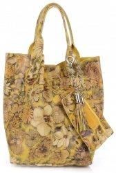 VITTORIA GOTTI Made in Italy Módní Kožená kabelka Shopperbag multicolor - Žlutá