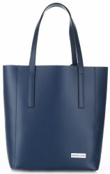 Elegantní kožená italská kabelka Vittoria Gotti Made in Italy Shopperbag XL s kosmetickou Tmavě modrá