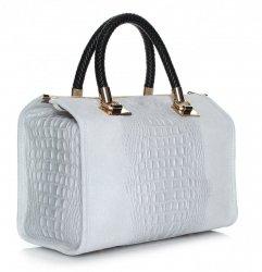 Elegantní kožený kufřík Aligator světle šedý