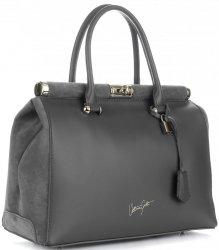 Kožené kabelky kufříky XXL VITTORIA GOTTI šedý