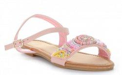 Modne Sandały Damskie ze zdobieniami Różowe