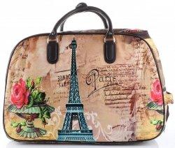 Torba Podróżna na kółkach ze stelażem Paris&Flowers Or&Mi Multikolor Beżowa