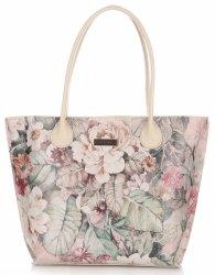 Duża Torba Skórzana Vittoria Gotti Kufer XL w Kwiaty Multikolorowa Beżowa