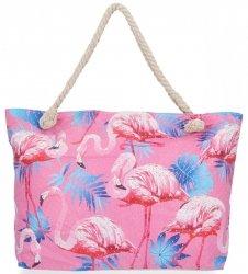 Ażurowana Torba Damska idealna na lato wzór flaminga Różowa