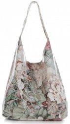 Torebka Skórzana firmy Vittoria Gotti Uniwersalny Włoski Shopper w modne wzory Kwiatów Ziemista