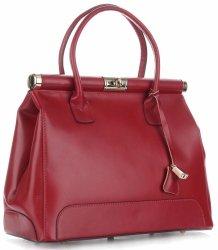 Duży Włoski Kufer ze Skóry Licowej Genuine Leather Czerwony