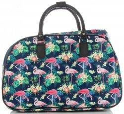 Duża Torba Podróżna Kuferek Or&Mi Flamingil Multikolor - Granatowa