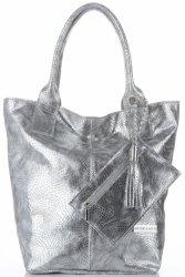Vittoria Gotti Elegancki Skórzany Shopper z Etui w rozmiarze XL Srebrny