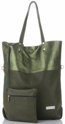 Vittoria Gotti veľké talianske kožené Shopper XXL s taškou Ideálne pre každodenné a nakupovanie zelená