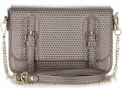 Exkluzívna kožená messengerová taška talianskej spoločnosti Vittoria Gotti staré zlato