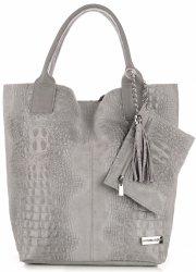 Kožené tašky VITTORIA GOTTI vyrobené v Taliansku Shopper taška aligátor svetlo šedá