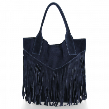 Kožené Dámské Kabelky Shopper Boho Style Vittoria Gotti Tmavě modrá
