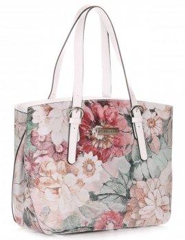 Dámská kabelka kožená kufřík VIttoria Gotti vzor v květech Multicolor Bílá