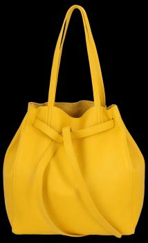 Kožené kabelky ShopperBag s kosmetickou Žlutá