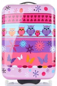 Módní Palubní kufřík s motivem sovy Snowball multicolor - fialová