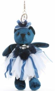 Přívěšek ke kabelce Sametový medvídek v sukýnce tyrkysový