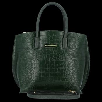 Elegantní Kožená Kabelka Kufřík s motivem aligátora Vittoria Gotti Lahvově Zelená