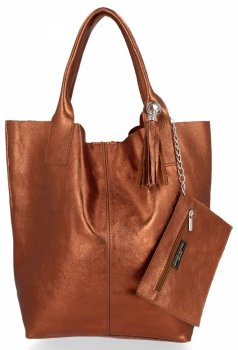 Kožené kabelky Shopper bag Lakované Hnědá