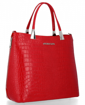 Elegantní Kožená Kabelka Kufřík s motivem aligátora Vittoria Gotti Červená