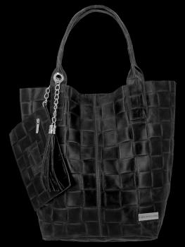 Módní Kožené Dámské Kabelky Shopper Bag XL Vittoria Gotti Černá
