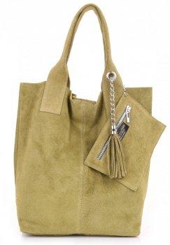 Kožené kabelky Shopperbag přírodní semiš Zelená