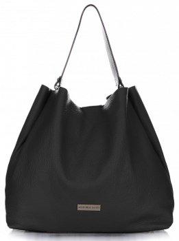Kožená kabelka Shopperbag Vittoria Gotti černá