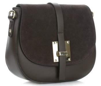Elegantní kožená kabelka listonoška čokoláda