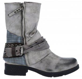 Šedé dámské kotníkové boty s přezkou Silvia