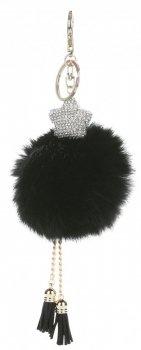 Přívěšek ke kabelce Pompon z přírodního králíka s hvězdou s kubickým zirkonem černý